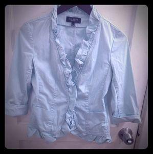 Talbot's cotton blend ruffled edges  mint blazer